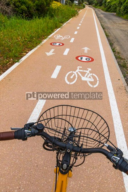 Nature: Bicycle steering wheel and bicycle lanes with roadsigns #02989