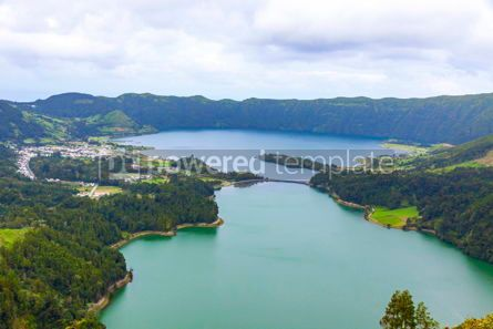 Nature: Lake of Sete Cidades on Sao Miguel island Azores Portugal #03069