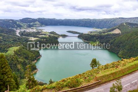 Nature: Lake of Sete Cidades on Sao Miguel island Azores Portugal #03070