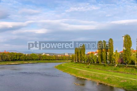 Nature: Spring view of Uzh river in Uzhhorod city Ukraine #03086