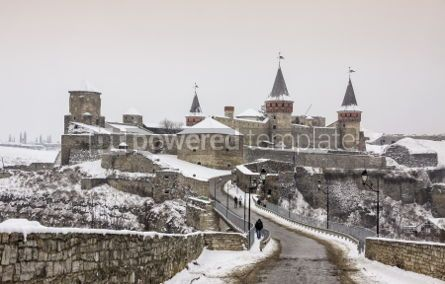 Architecture : Winter view of Medieval fortress of Kamyanets-Podilsky Ukraine #03110