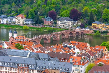 Architecture : Aerial view of Old bridge in Heidelberg city Germany #03129