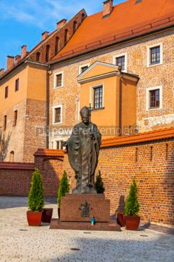 Architecture: Monument of Pope John Paul II in Wawel Royal Castle Krakow Pol #03131