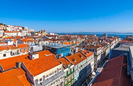 Architecture : Aerial view of Lisbon old town Portugal #03135