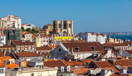 Architecture : Aerial view of Lisbon old town Portugal #03136