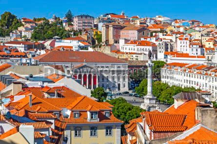 Architecture : Aerial view of Lisbon old town Portugal #03137
