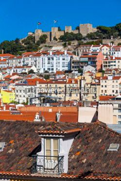 Architecture : Aerial view of Lisbon old town Portugal #03138