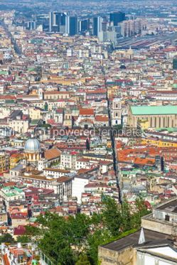 Architecture : Aerial view of rooftops of Naples old town Italy #03141