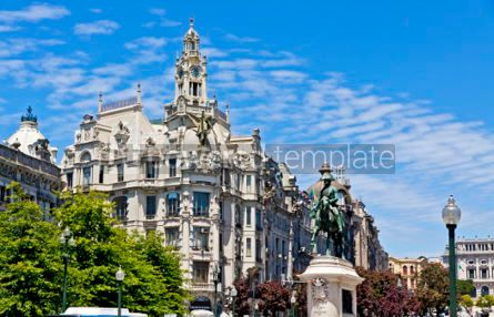 Architecture: Liberty Square (Praca da Liberdade) in Porto city Portugal #03144
