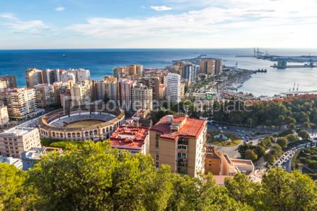 Architecture : Skyline aerial view of Malaga city Andalusia Spain #03154