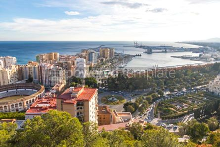 Architecture : Skyline aerial view of Malaga city Andalusia Spain #03157