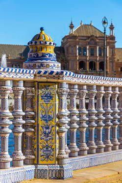 Architecture : Plaza de Espana (Spain Square) in Seville Andalusia Spain #03167