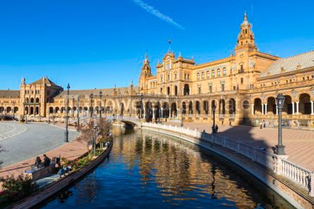 Architecture : Plaza de Espana (Spain Square) in Seville Andalusia Spain #03172