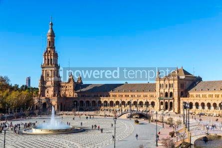 Architecture : Plaza de Espana (Spain Square) in Seville Andalusia Spain #03174