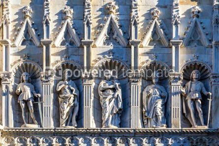 Architecture : Details of exterior of Como Cathedral (Duomo di Como) Lombardy #03179