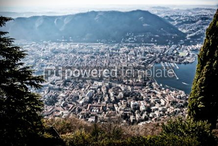 Architecture : Aerial view of City of Como on Lake Como Italy #03182
