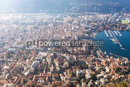 Architecture : Aerial view of City of Como on Lake Como Italy #03183