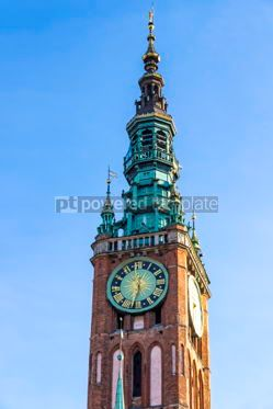 Architecture : Tower of Main City Hall in the old city center of Gdansk Poland #03184