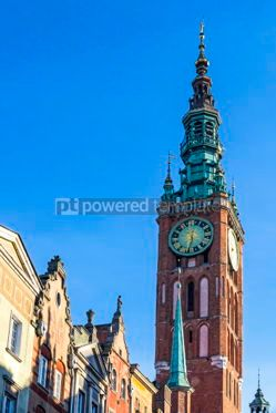 Architecture : Tower of Main City Hall in the old city center of Gdansk Poland #03185