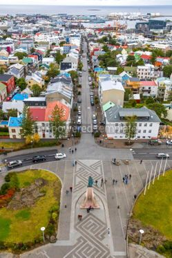 Architecture : Aerial view of Reykjavik city Iceland #03188