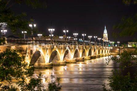 Architecture : Pont de Pierre bridge over Garonne river in Bordeaux France #03191