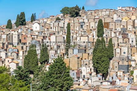 Architecture : Old hilltop cemetery in Enna Sicily Italy #03201