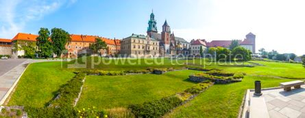 Architecture : Panoramic view of Wawel Royal Castle complex in Krakow Poland #03203