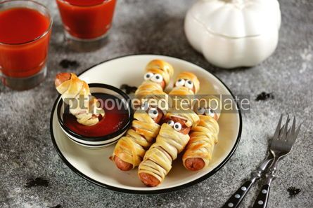 Food & Drink: Funny sausage mummies in dough with ketchup for the Halloween party.  #03240