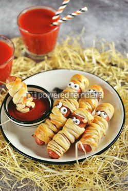 Food & Drink: Funny sausage mummies in dough with ketchup for the Halloween party.  #03241