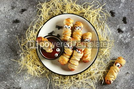 Food & Drink: Funny sausage mummies in dough with ketchup for the Halloween party.  #03242