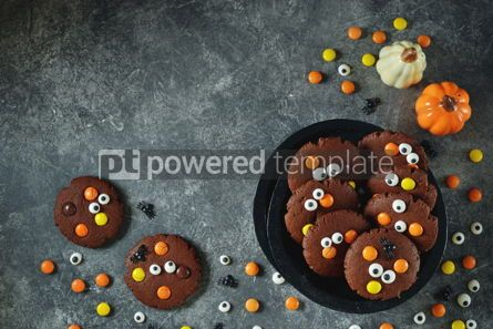 Food & Drink: Homemade Chocolate Chip Cookies whith spooky candy eyes for Halloween Party. #03243