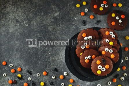 Food & Drink: Homemade Chocolate Chip Cookies whith spooky candy eyes for Halloween Party. #03244