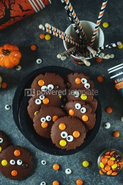 Food & Drink: Homemade Chocolate Chip Cookies whith spooky candy eyes for Halloween Party.  #03246