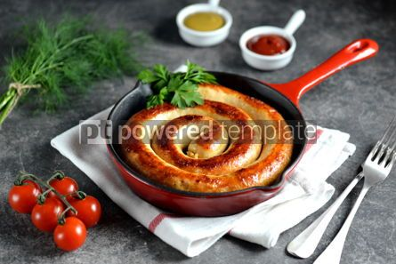 Food & Drink: Grilled homemade sausage in a cast iron pan. Delicious homemade food. #03255