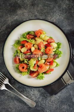 Food & Drink: Healthy potato gnocchi salad with cherry tomatoes cucumber bell pepper salted salmon olive oil  #03257