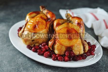 Food & Drink: Two whole roasted chicken with cranberries and orange slices. #03268