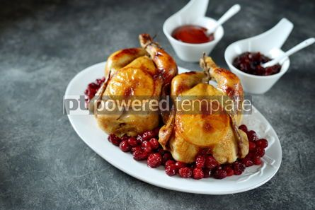 Food & Drink: Two whole roasted chicken with cranberries and orange slices. #03269