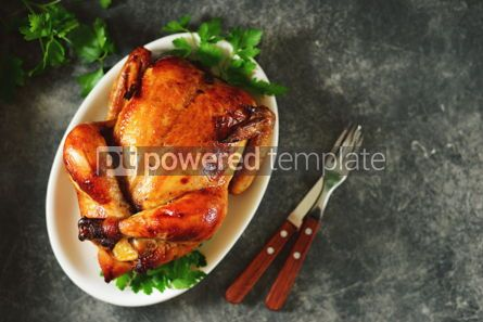 Food & Drink: Roasted whole chicken. Delicious homemade food. Top view. #03270