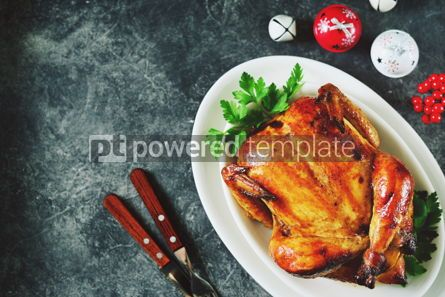 Food & Drink: Roasted whole chicken. Delicious homemade food. Christmas background.  #03272