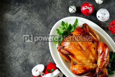 Food & Drink: Roasted whole chicken. Delicious homemade food. Christmas background.  #03273