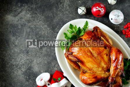 Food & Drink: Foto - pollo entero asado deliciosa comida casera fondo de navidad #03273