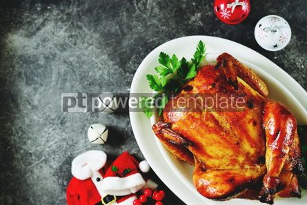 Food & Drink: Roasted whole chicken. Delicious homemade food. Christmas background.  #03274