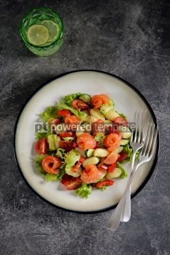 Food & Drink: Healthy potato gnocchi salad with cherry tomatoes cucumber bell pepper salted salmon olive oil  #03297