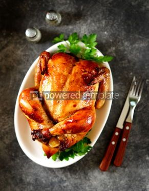 Food & Drink: Roasted whole chicken. Delicious homemade food. Top view. #03302