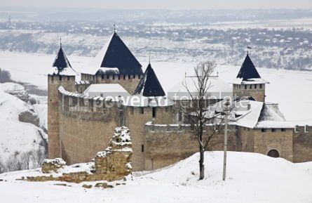 Architecture : Winter view of Medieval Castle in Hotin Ukraine #03379