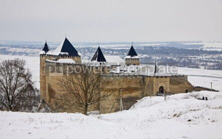 Architecture : Winter view of Medieval Castle in Hotin Ukraine #03380
