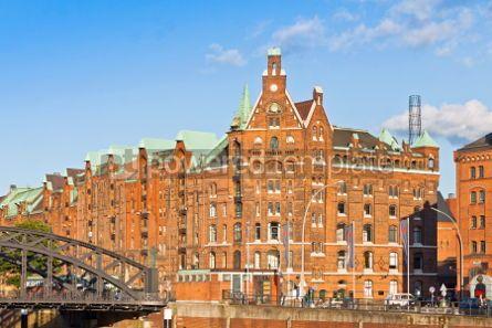 Architecture : Speicherstadt district (City of Warehouses) in Hamburg Germany #03385