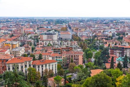 Architecture : Aerial view of Bergamo city Lombardy Italy #03393