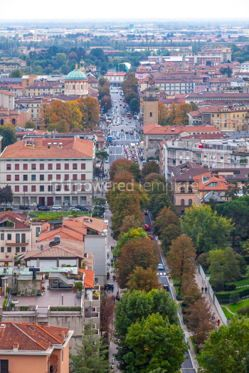 Architecture : Aerial view of Bergamo city Lombardy Italy #03394