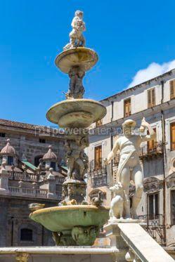 Architecture : Praetorian Fountain (Fontana Pretoria) in Palermo Sicily Italy #03402
